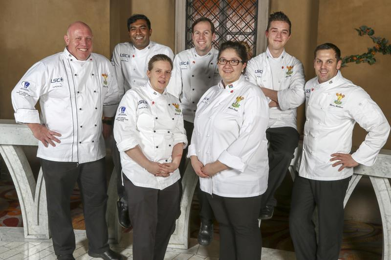 SA Culinary Team Trevor Boyd, Dion Vengatass, Blake Anderson, Arno Ralph, Henrico Grobbelaar_Front (L to R) Kirstin Hellemann, Minette Smith.