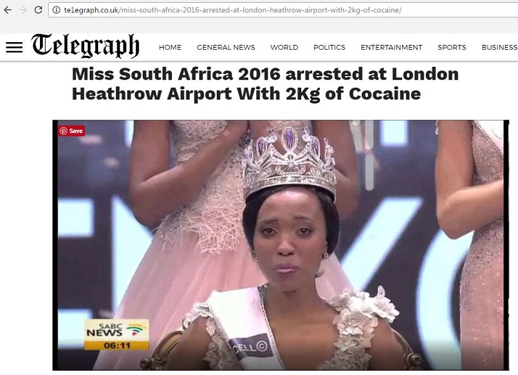 miss south africa cocaine